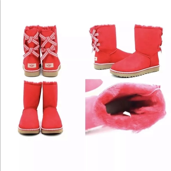 d4921e1fa23 UGG Bailey Bow Gingham Women's Red Bow Boots SZ 7